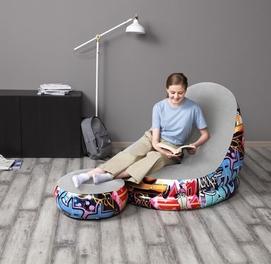 121×100×80 надувной кресло с пуфик Bestway 75076
