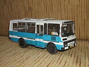 Сборная модель из бумаги городского автобуса Паз-3205.