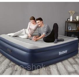 203×193×56Надувная кровать с подголовником, встр.насос 220В, до 300кг