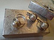 Новое.серебро с жемчугом комплект.