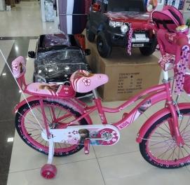 Детский велосипед Princess Принцесса 20 размер с боковыми колесами для девочек.