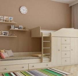 Двухъярусная кровать с шкафом и ящиками