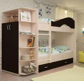 Двухъярусная кровать с встроенным шкафом и ящиками