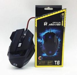 Профессиональная Проводная игровая мышь T6 светодиодный