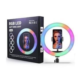 С Штативом Кольцевая селфи-лампа RGB LED MJ26 (мультиколор, 26см)